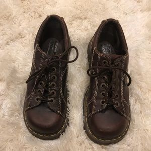 Women's brown Dr. Martens with a small platform